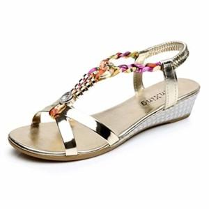 LUCKYCAT Prime Day Amazon, Sandales d'été Femme Chaussures de Été Sandales à Talons Sandales Plates Diamant de Mode Casual Sandales à Talons Hauts Chaussures de Plage 2018 2018