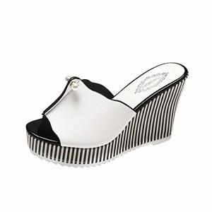 LUCKYCAT Sandales d'été Femme, Prime Day Amazon Chaussures de Été Sandales à Talons Chaussures Plates Talon Haut Perle Rayures Pente Pantoufles 2018 2018