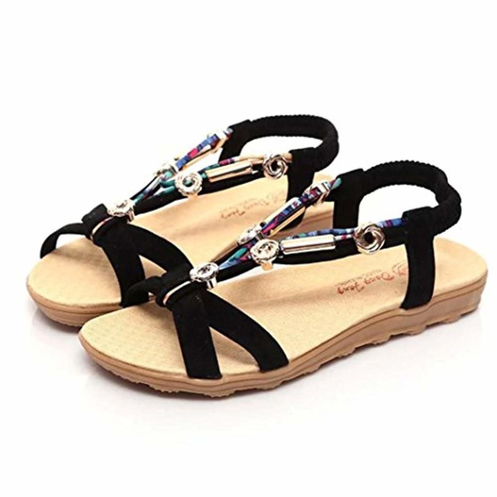LUCKYCAT Sandales pour Femme, Prime Day Amazon Chaussures de Été Sandales à Talons Sandales Chaussures Bout Ouvert Chaussures Basses Sandales Romaines Pantoufles pour Dames Bohême Talons Bas 2018 2018