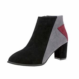 OverDose Bottines Pointues à Talons Color Block, Femme Sexy Bottes Daim Hiver Chaussures Boots 2018
