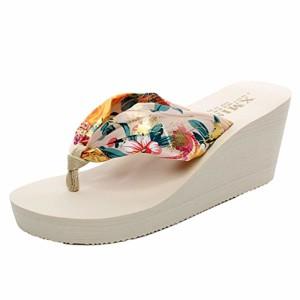 YOUJIA Femmes Tongs été Compensées Chaussures de plage Satiné Boho Plateforme Sandales 2018