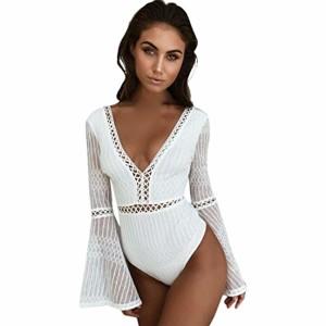 ❤️ Body CombinaisonFemme Ete Short Amlaiworld Femmes Col V Combinaison Hollow-out Dentelle Bodys Sexy Blanc Dos nu Combinaison à Manches évasées 2018