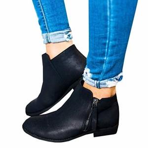 Boots Femme Daim Bottine Femmes Plates Basse Cuir Bottes Chelsea Chic Compensées Grande Taille Talon Chaussures 2.5cm Beige Gris Noir 35-43 2018