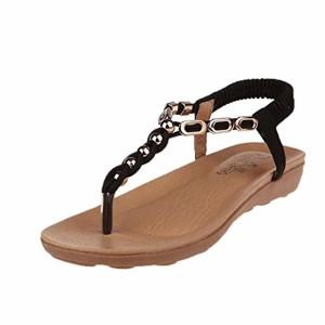 LUCKYCAT Prime Day Amazon, Sandales d'été Femme Chaussures de Été Sandales à Talons Chaussures Plates Bohême Crystal Fond épais Bande élastique Chaussures de Plage 2018 2018