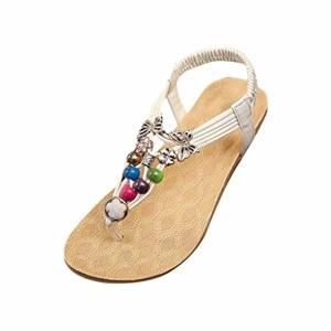 LUCKYCAT Prime Day Amazon, Sandales d'été Femme Chaussures de Été Sandales à Talons Chaussures Plates Bohême Sweet Perles Sandales Chuck Chaussures 2018 2018