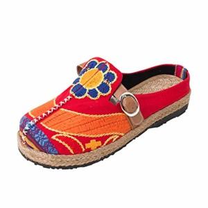 MISSMAO Femme Été Chaussures Sandales Imprimé Chaussons de Bout Rond Bohême 2018