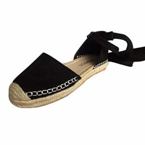 Sandale Espadrilles Femmes Sonnena Plates à Lacets Eté Chunky Vacances Sangle Chaussures Filles Noir/Gris/Rose 35-43 2018