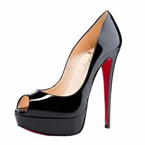SHOFOO – Femmes – Stiletto – Cuir brillant synthetique – Semelle compensee – Talon aiguille – Bout pointu ouvert, Noir/Rouge, 38 EU 2018