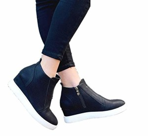 Basket Femme Compensee Plateforme Montante Bottine Plates Cheville Cuir Chic 4.5cm Boots Hiver Chelsea Chaussures de Sport Bleu Rose Kaki 34-43 2018