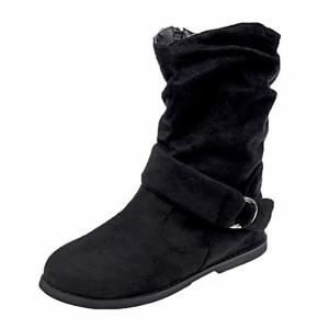 Botte FantaisieZ Bottines Plates Style pour Femme Chaussures Souples Set de Pieds Bottines Bottes Moyennes à Fermeture Eclair de Grande Taille 2018