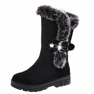 Bottes de neige Femmes Chaussures Bottes Cuissardes d'hiver Bottes fourrées Femmes Bottes Slip-On Soft Bottes de neige bout rond plat fourrure d'hiver Bottines GongzhuMM (CN40(EU39), Noir) 2018