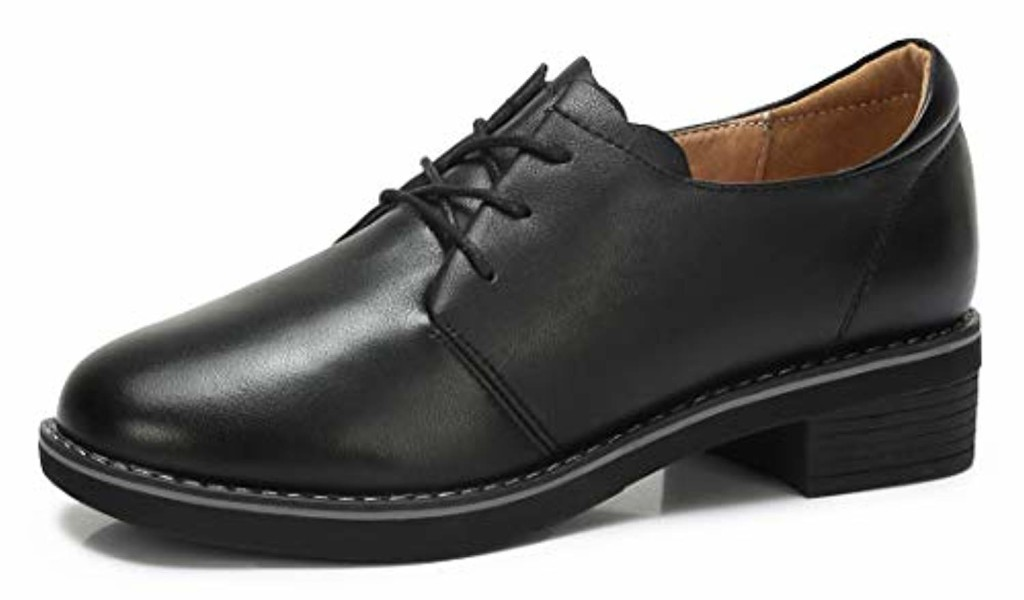 CAMEL CROWN Derbies Femme Oxford Lacets Chaussures Cuir Confort Doux Daily Loisir Noir Marron EU36-40 2018