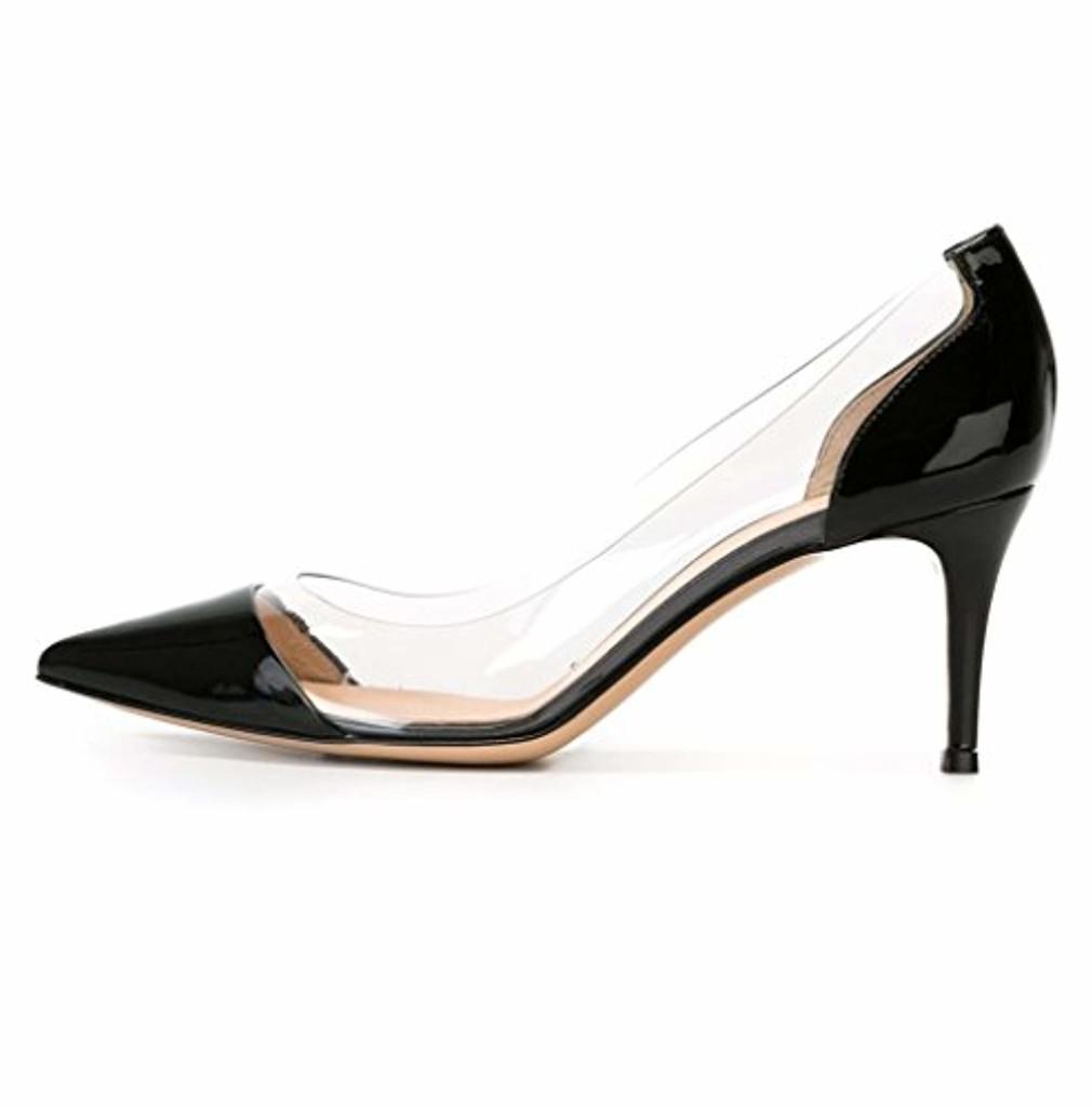 EDEFS -Escarpins Femmes - Kitten-Heel Cour Pompes - Transparent PVC Chaussures - Bout Pointu Bride Soirée Mariage 2018