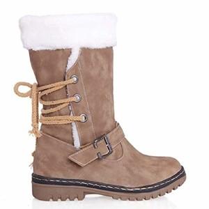 Femme Bottes de Neige Chaud Bas Lacet Rond Haut Bottes Hiver Boots Mode Courts Doublure Plate Lacets Chaussures Noir Marron Beige 35-46 2018