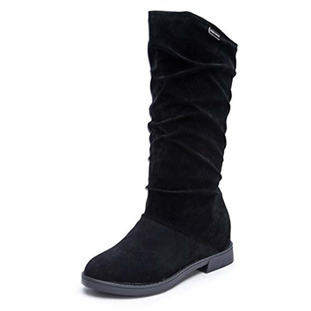 Femme Chaussures Bottes de Neige Hiver Boots Imperméable Fourrure Bottines Bottes Automne Hiver Bottes Femmes Douce Botte Stylish Flat Flock Chaussures Bottes de neige GongzhuMM (CN39, Noir) 2018