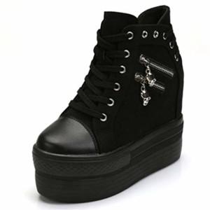 Femmes Chaussures Plateforme Chaussures À Talons Hauts Toile Pointe Ronde À Lacets Casual Chaussure Dames Caché Bottes Compensées 2018