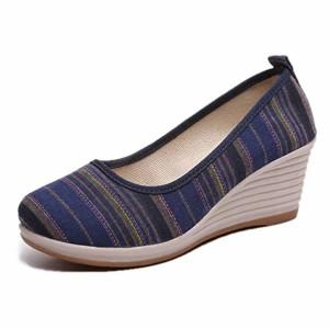 Femmes Compensées Toile Chaussures Talons Hauts Bout Rond Rayé Slip sur Wedge Pompe Dames Chaussures Casual 2018