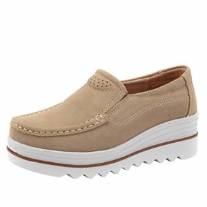 JIANGfu Femme Sandales Été Chaussures Plat Mode Dames Femmes Flats Muffin Chaussures Sneakers en Cuir Casual Chaussures Creepers Mocassins Rome Pantoufles 2018