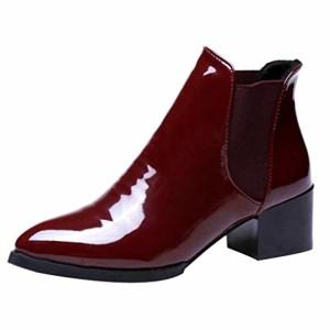 Meilleure Vente! LuckyGirls Ankle Boots Femme Hiver Bottines Chelsea à Talon Soldes Automne Chaussures Bottes 2CM Sexy Boots Bottines à Talon Bas en Cuir Verni Shoes 35-40 2018