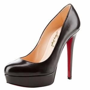 NANCY JAYJII – Femmes – Stilettos – Noir – Cuir – Semelle compensée – Talon Aiguille – Bout Rond fermé 2018