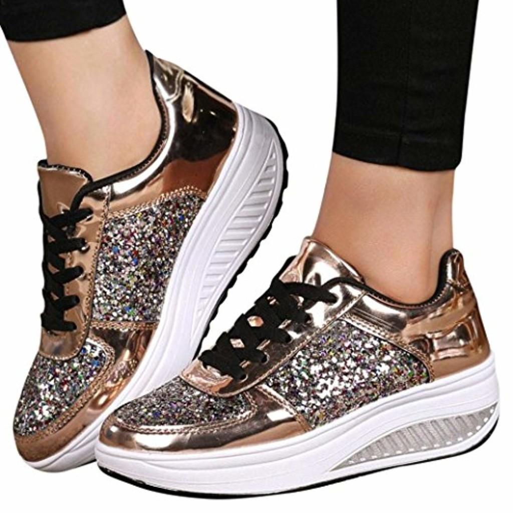 Overdose-Chaussures Baskets Compensées Lacets Paillettes Femme Trainers Platform Pas Cher Plates Soldes Été Automne Comfort Similicuir Sneakers 2018