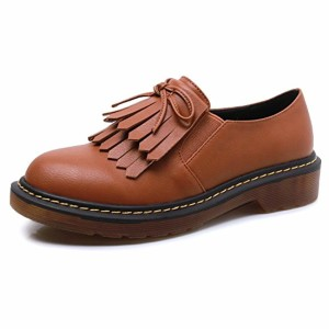 Smilun Chaussures Femme Plat Bout Rond Western Basse Frange 2018