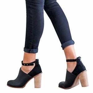 Sonnena Bottes Chaussures Femmes,Automne Hiver Martin Bottes Cuir Bottes de Neige Bottines Chaussures Femme,Mode FéMinine Haut Talon Lacent Bottines Dames Chaussures Classiques Chaudes Impermeable 2018