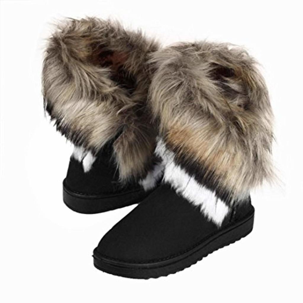 Bottes de neige pour femmes Bottes de neige doublées imperméables Mode Femmes Bottes Cheville Plat Fourrure Doublé Hiver Chaud Neige Chaussures GongzhuMM (CN39(EU38), NOIR) 2019