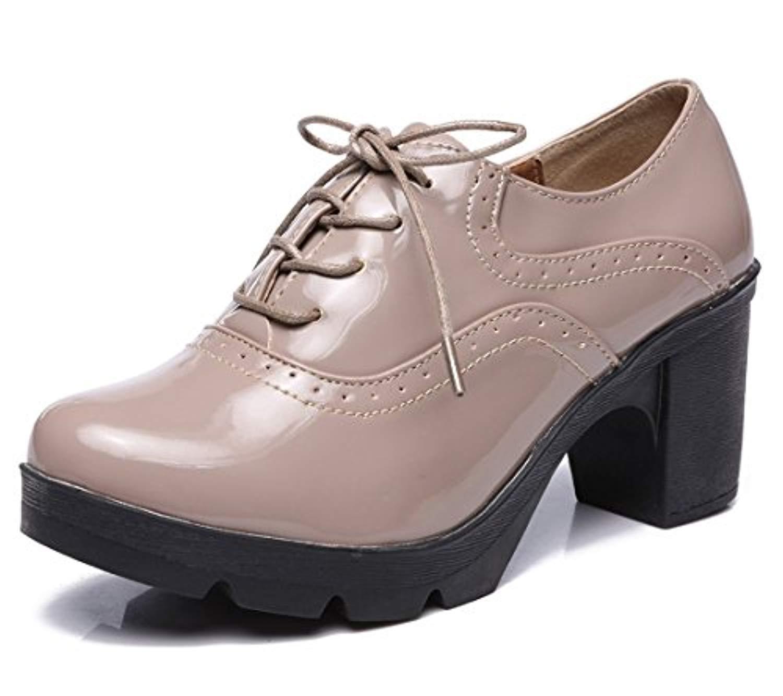 dadawen femmes chaussures de ville lacets derbies baskets cuir plateforme mary jane oxfords. Black Bedroom Furniture Sets. Home Design Ideas