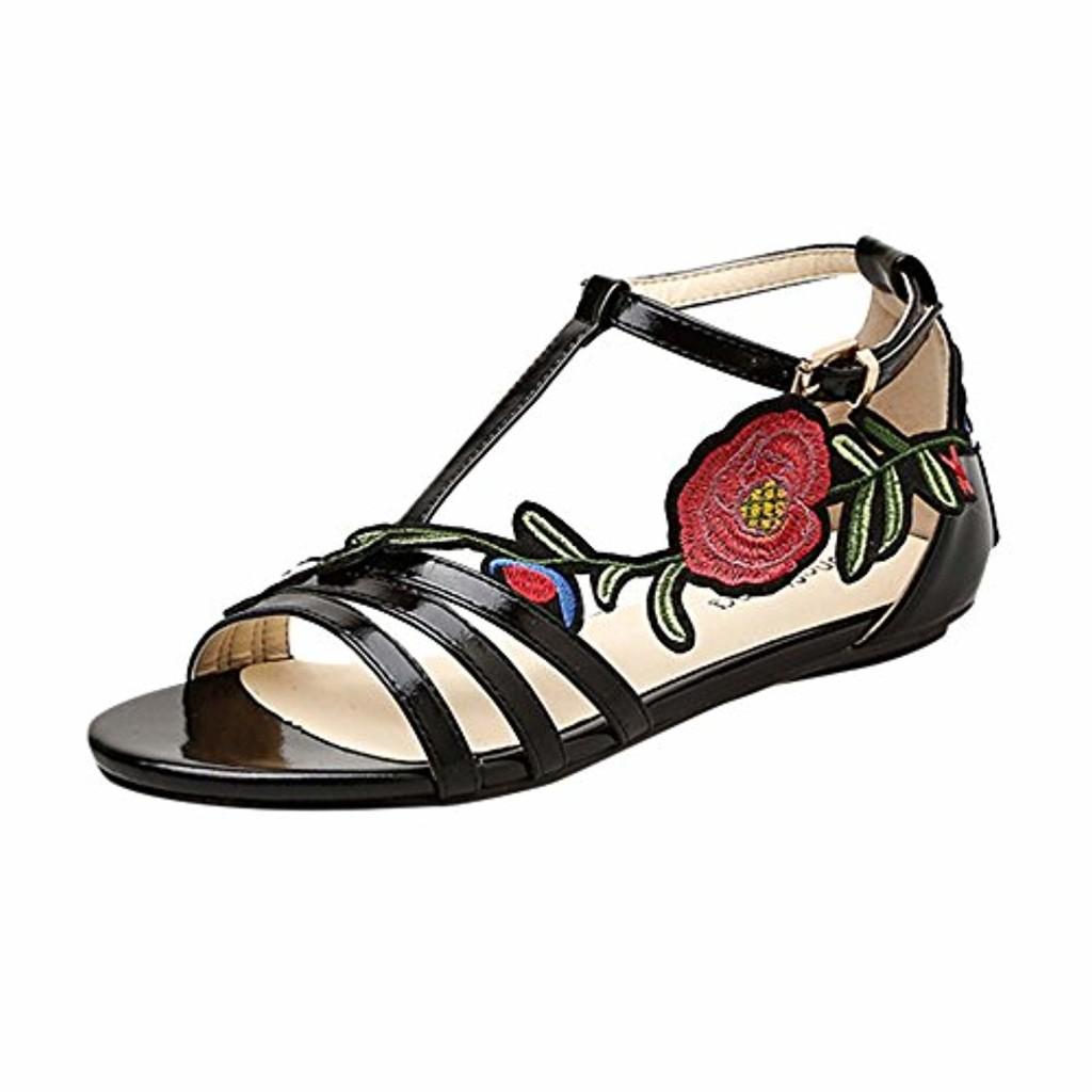 JIANGfu ❤️❤️ Femme Sandales Été Chaussures Plat Dames Femmes Sandales Fashion Flat Romaine Rose Broderie Floral Casual Shoes Rome Pantoufles 2019
