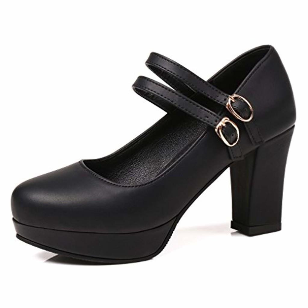 OALEEN Escarpins Femme Mary Janes Talon Haut Bloc Brides Cheville Boucles Plateforme Chaussures Soirée 2019