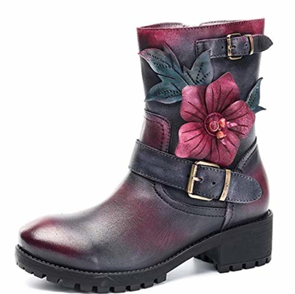 Socofy Bottes Femme, Bottines à Fleurs en Cuir Boots Mustang Mi-Mollet Chaussures de Ville Talons Hauts Hiver Printemps 2018 - Noir Rouge Marron Bleu 2019