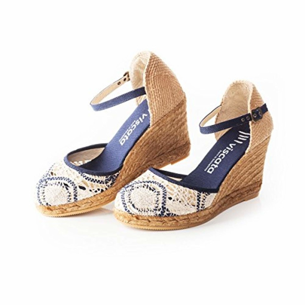 VISCATA Satuna Ankle-Strap, Closed Toe, Classic Espadrilles with 3-inch Heel Made in Spain 2019