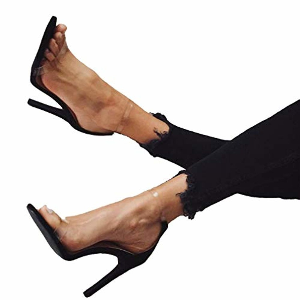 Yying Femme Talons Hauts Sandales Chaussures Open Toe Stileto Transparent Sandales, Cheville Boucle Strappy Sandales, 11.5cm Soir Chaussures, Été Chaussures Noir 2019