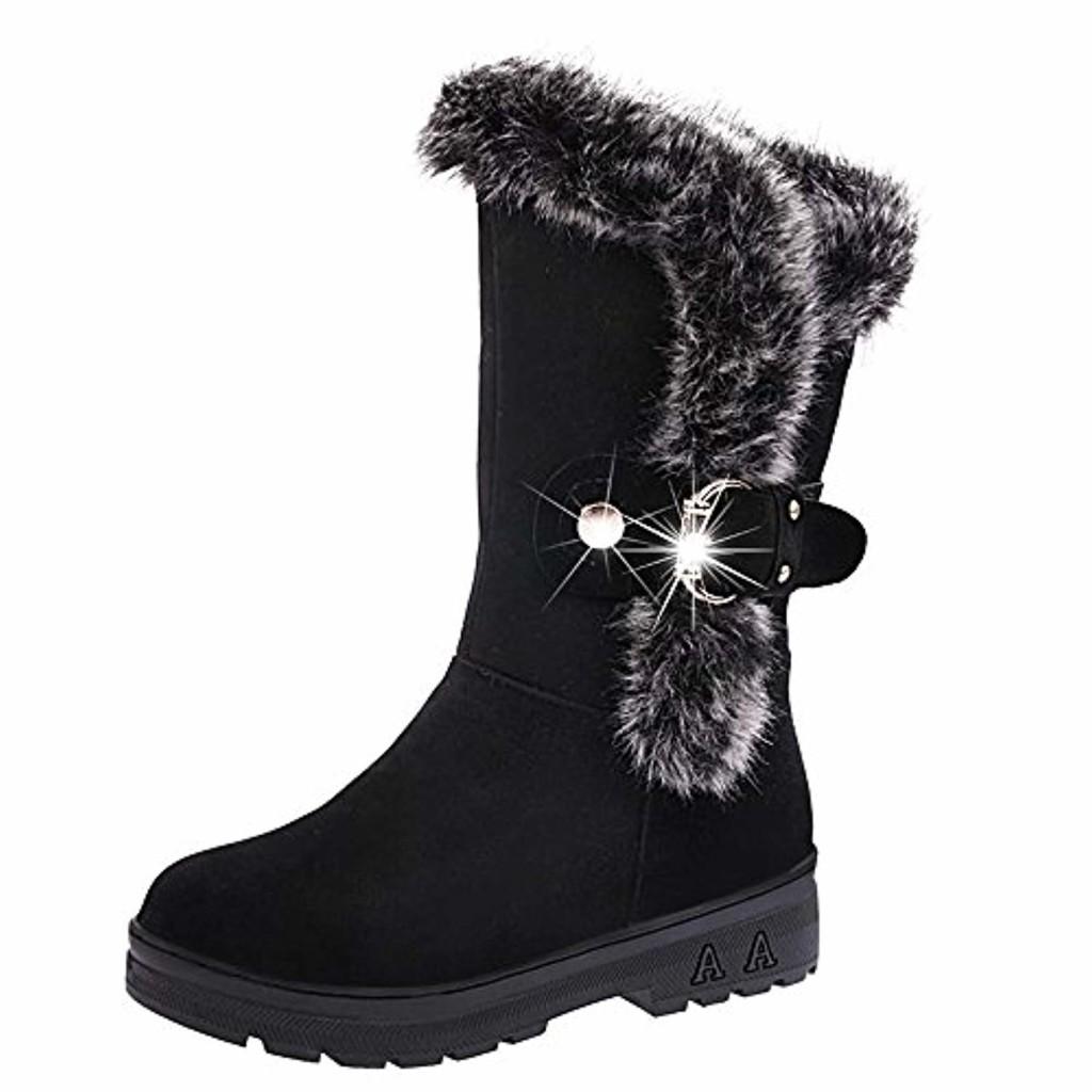 LHWY bottes femme,Les femmes bottes plates bottes de neige molles rondes bottes de fourrure d'hiver by 2019