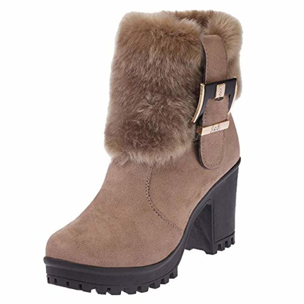 OSYARD Bottes de Neige Femmes Chaussures Bottes Cuissardes Bottes Fourrées Bottes Slip-on Soft Bottes Bout Rond Bloc Fourrure Hiver Bottines 2019
