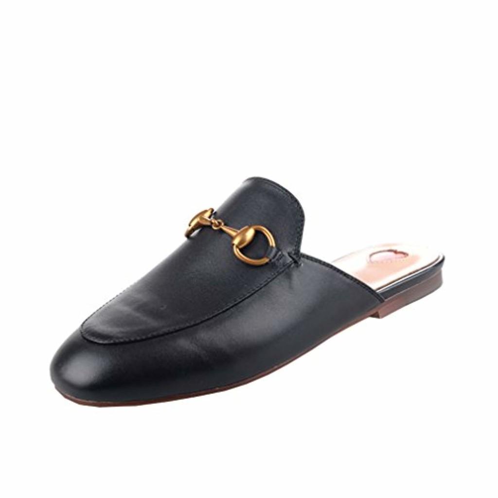 Y2Y Studio Chaussures Mules Ballerines Plate Cuir Suede Femmes de Marque avec Brodées et Dentelle Chic Confortables pour Ete 2019