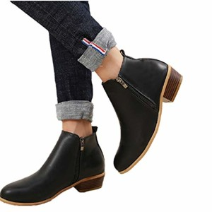 Boots Femme Talon Bottine Femmes Hiver Daim Cuir Bottes Chelsea Low Chic Cheville Compensées Grande Taille Chaussures 3cm Bleu Marron Noir 35-43 2018