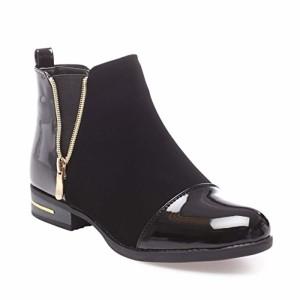 La Modeuse – Boots bi-matière en smilicuir avec empiècements Vernis au Niveau du Talon et du Bout Arrondi 2018