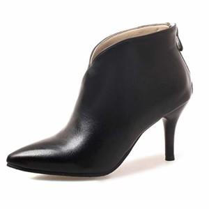 OALEEN Bottine Pointue Femme Talon Haut Aiguille Effet Cuir Zip Low Boots 2018