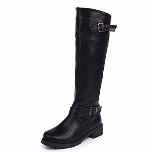 Anokar Bottes Femme Cuir Hiver Knee Boots Equitation Boots Femme Biker Bottes Hautes Longue Fermeture Eclair Boucle Chaussures Party Noir Vert Marron 35-43 2019