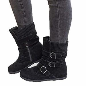 JOYTO Bottes Fourrees Femmes Plate Hiver Daim Cuir Neige Compensé Bottine Cheville Chaude Winter Ankle Boots Chaussures Warm Confortable Noir Marron Gris Rouge 35-43 2019