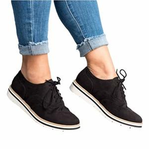 Juleya Femmes Brogue à Lacets Chaussures Simples Mode Bout Rond Chaussures à Talons Plats sculptés Grande Taille Loisirs Dames Chaussures 2019
