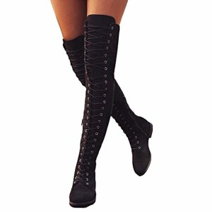 Anokar Bottes Femme Talon Bas Genou Haute Suède Bottes Cuissardes Bottines Longue Lacets Mode Sexy Chaussures Noires Vert Kaki Marron 35-43 2019