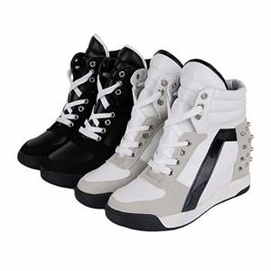 Baskets Compensées Femmes Chic Talon Haut Chaussure à Lacets Mode Respirant Cheville Haut Platform Casual Sneakers Blanc/Noir/Rose Taille 35-39 2019