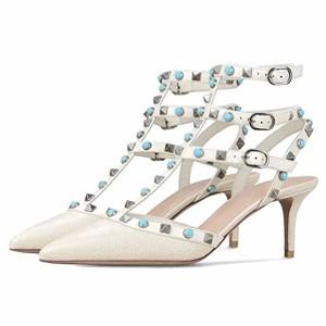 Caitlin Pan Femmes Mode Haute Talon Bout Pointu Cheville Sangles Goujons Stiletto Formelle Parti Robe Sandales Cloutées Cour Chaussures 35-45 UE 2019