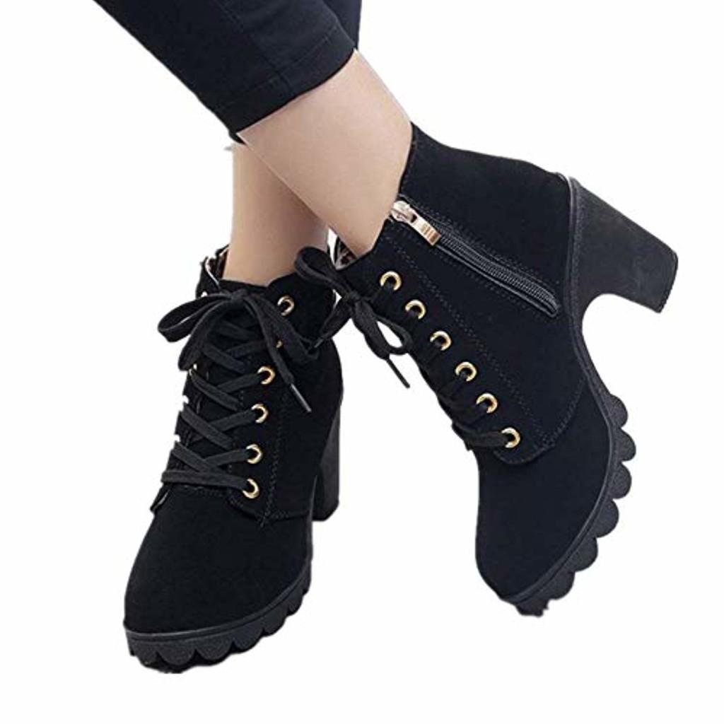 JOYTO Femme Bottines a Talon Plateforme Velours Lacer Cuir Basse 8 CM Hiver Automne Fashion Elegante Confortable Boots avec De La Fourrure Noir Kaki Vert Rouge 35-41 2019